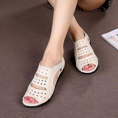 Summer women's sandals Hollow leather Genuine shoes Soft bottom mom shoes Large size elderly shoes Mens Fashion Shoes, Fashion Sandals, Fashion Boots, Comfortable Sneakers, Comfy Shoes, Womens Golf Shoes, Womens High Heels, Best Running Shoes, Clearance Shoes