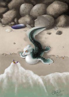 Water Dragon Hatchling by voluspa