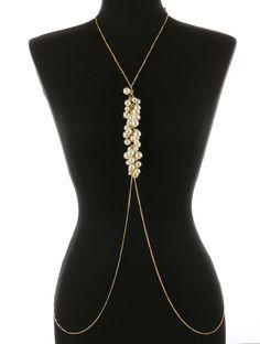 New Body Chain With Pearl Fringe Gold Cream Bikini Accent Necklace Torso #SP