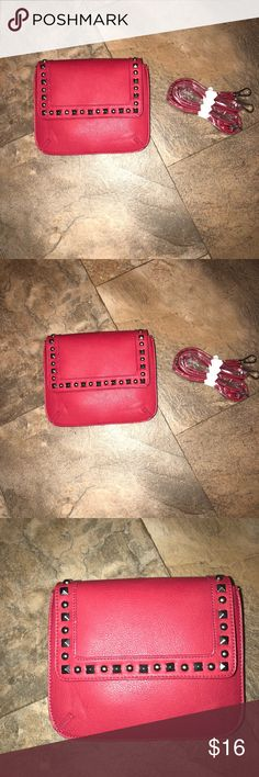 Red Embellished Cross Body Purse NWT Red Embellished Cross Body Purse NWT with detachable strap approx measurements 8 1/4 by 7 inches Bags Crossbody Bags