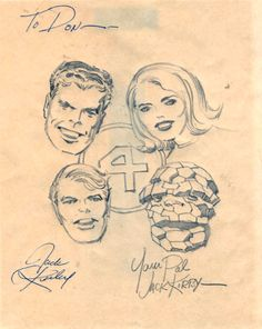 Fantastic Four sketch by Jack Kirby