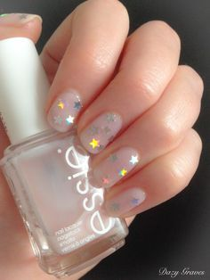 Holographic Star Nails by Dazy Graves using Essie's Mademoiselle & Nails Inc Albert Bridge Topcoat