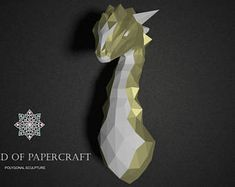 Mythical Dragon, Papercraft PDF Template Low Poly Paper Sculpture DIY Gift Wall Decor for Home and Office Pepakura Pattern Handmade