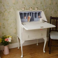 Vintage Walnut Writing Bureau ~ Shabby Chic furniture from My Little Vintage Attic - Morgan would love this for a writing desk!