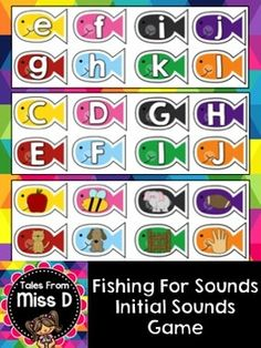 "In this game, students use a toy fishing rod to ""fish"" for sounds. When students catch a fish, they must say the sound of the letter or the sound that the picture starts with. Includes lower case, upper case and pictures. To prepare; print, cut and laminate. Attach a paper clip to each fish."