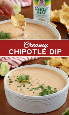 This 5 ingredient party dip features heat from Chipotle peppers in adobo and flavor from Garlic Salt. Whip up for the perfect last-minute party appetizer or afternoon snack.