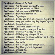 Real friends Vs. fake friends