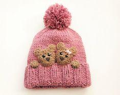Bear hat, Kids Winter Hat, Beanie Hat, Knit Hat, Pom Pom Hat, Toddler Girl Hat, Kids Winter Outfit, Infant Hat, Teddy Bears, Cut Girls Hat