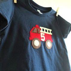 Boys Birthday shirt, FIRETRUCK Personalized - $26.00, via Etsy.