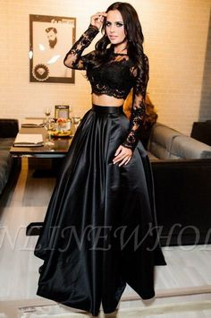 Sexy Black Lace Crop Top Two-Piece Prom Dresses,Long Sleeve Satin Prom Dress, Shop plus-sized prom dresses for curvy figures and plus-size party dresses. Ball gowns for prom in plus sizes and short plus-sized prom dresses for Navy Blue Prom Dresses, Prom Dresses For Teens, Prom Dresses Long With Sleeves, A Line Prom Dresses, Dress Prom, Party Dresses, Prom Gowns, Dresses Dresses, Ball Gowns