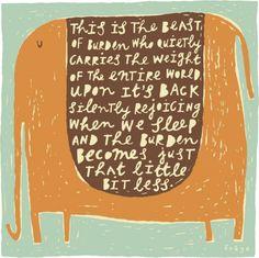 The Beast of Burden - Fine Art Print (Large) elephant by freyaart etsy shop