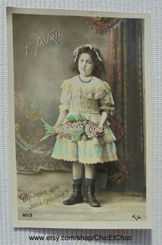 French Antique April 1st Postcard - Girl Holding a Large Flowery Fish (Poisson…