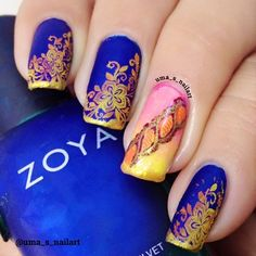 Saree inspired Nails ..... | Uma's Nail Art | Bloglovin'