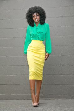Green Tie Front Blouse + Yellow Pencil Skirt