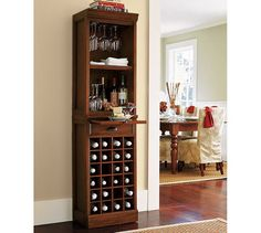 Modular Bar with Wine Grid Tower | Pottery Barn.....I wonder if I could diy this from and old stereo cabinet