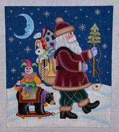 Santa w/Black Bear Toy 18 mesh 7.5x8.5 in. Reg. $146.25, Trunk Show $117
