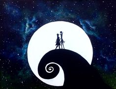 Jack and sally under the stars- glow in the dark space painting- lanchen designs Etsy