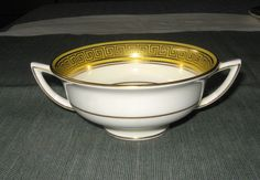 Minton China Footed Cream Soup Bowl Gold Key Chi by CRCRUMSEY