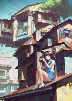 ✮ ANIME ART ✮ cityscape. . .city. .. buildings. . .roof top. . .girl. . .camera…