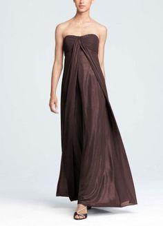 David's Bridal Bridesmaid Dresses Fog Foil Split Front A-Line Dress with Beading