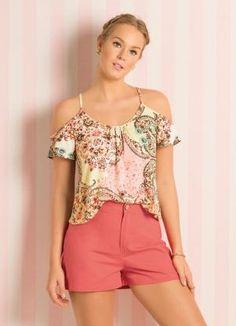 Blusa Ombros Vazados Étnico Floral - Posthaus
