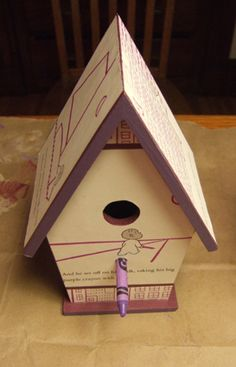 birdhouse made (by me) from Harold and the Purple Crayon by Crockett Johnson