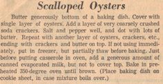 Recipe Clipping For Scalloped Oysters from RecipeCurio.com  - Vintage Recipes