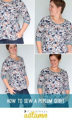 how to sew a flattering peplum top - no gathers at the waistline means more of an hourglass look. step by step sewing tutorial.