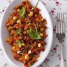 Tomaten-Reis mit Mozzarella
