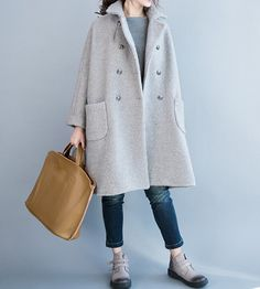 Women winter Clothing oversized loose double breasted wool coat gray Overcoat