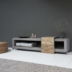 BoxWorx Furniture, end tables, and stools - Overzettafel/butler series is STILLBoxWorxboxworx Concrete Furniture, Classic Furniture, Home Decor Furniture, Furniture Design, Furniture Stores, Tv Unit Decor, Tv Decor, Modern Tv Cabinet, Tv Stand Designs