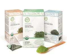 Aiya's newest Tea Taster's line is a collection of USDA Certified Organic Japanese green tea bags from Kagoshima, Kyushu, in the southwest of Japan. Mineral-rich volcanic soil and an early spring contribute a distinct terroir, while pyramid tea bags protect the delicate leaves for a better brew. Offered in three varieties: Organic Gyokuro, Organic Matcha-infused Sencha, and Organic Matcha-infused Genmaicha. 15 tea bags/box. www.aiya-america.com