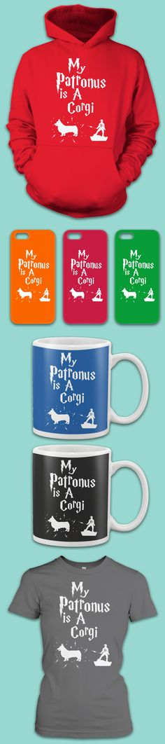 These are the perfect gifts for anyone who loves Corgis and Harry Potter! Check out the many types of options by clicking the image. You'll see wonderful shirts, long sleeves, hoodies, tank tops, mugs & phone cases.