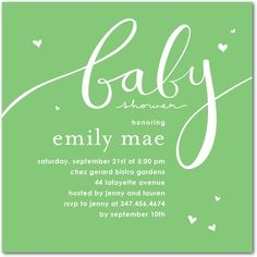 sweet shower invites with hearts, baby