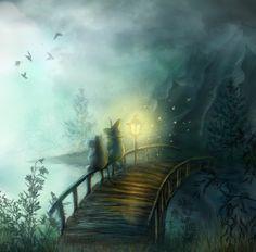 Moomin bridge by ~Maria Hobbit Tove Jansson fan art, Finland Fairy Land, Fairy Tales, Fantasy World, Fantasy Art, Les Moomins, Totoro, Moomin Valley, The Last Unicorn, Tove Jansson