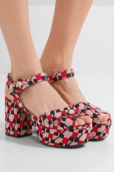 Prada - Jacquard Platform Sandals - Blush - IT38.5