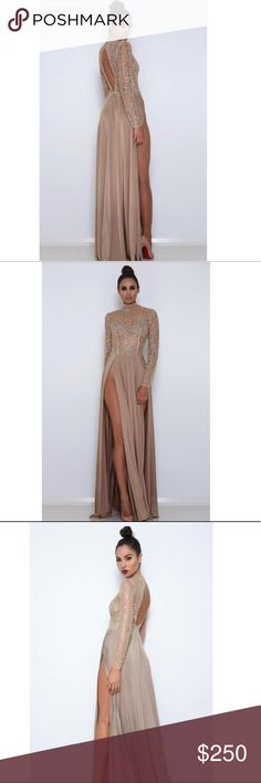 Gold Sequin Dress With Slits XSMALL Abyss by Abby Amrezy Gown Made from a premium stretch-jersey fabric for skirt part with 2 high splits The top half of dress is glitter, glitter top part is lined only on bust area in a bronze color back zipper Abyss By Abby Dresses Long Sleeve