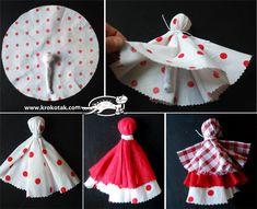 Rag doll – Baba Marta (Iva's Creations) Diy Rag Dolls, Yarn Dolls, Diy Doll, Fabric Dolls, Crochet Dolls, Baba Marta, Rag Doll Tutorial, Handkerchief Crafts, Clothespin Dolls