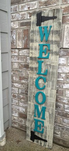 Front Porch Teal Wood Sign Front Porch Welcome door RedRoanSigns Outdoor Welcome Sign, Welcome Signs Front Door, Wooden Welcome Signs, Wooden Door Signs, Rustic Wood Signs, Wooden Doors, Homemade Wood Signs, Fall Door Hangers, Wood Front Doors