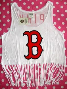Victoria Secret Pink Boston Red Sox MLB Fringe Tank Top Tee T Shirt Swim Cover M | eBay