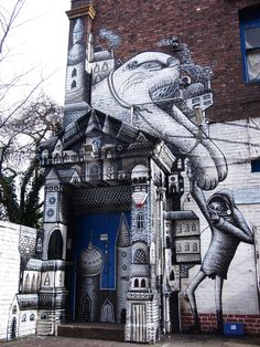 I will let them pain my door!!! Detail of one of Phlegm's walls at Black/Light, a show with Roa
