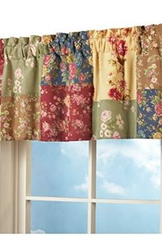 Floral Wildflower Patchwork Window Valance from Collections Etc. Patchwork Curtains, No Sew Curtains, Cafe Curtains, Valance Curtains, Window Valances, Cortinas Country, Tie Up Shades, Collections Etc, Quilting Room