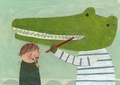 Boy brushing teeth - Mique Moriuchi