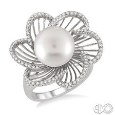 11x11 mm Pearl and 1/3 Ctw Round Cut Diamond Ring in 14K White Gold www.christensenjewelers.com