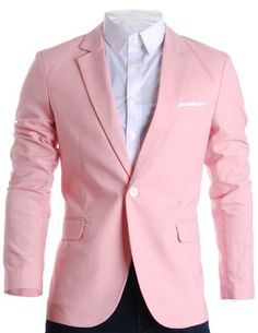 FLATSEVEN Mens Slim Fit Cotton Stylish Casual Blazer Jacket Pink, M (Chest 40) FLATSEVEN http://www.amazon.com/dp/B00AXYJO0K/ref=cm_sw_r_pi_dp_BPB1ub115Y8ZV #FLATSEVEN #Menscasual #mens #Mensfashion #slimfit #Blazers #mens #fashions