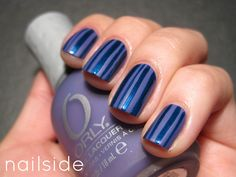 A striper polish, Janet #119, over the lovely matte basecolor of Orly's Purple Pleather | from Nailside