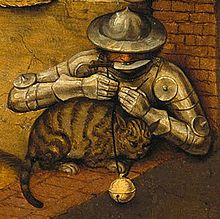 To bell the cat (To carry out a dangerous or impractical plan); To be armed to the teeth (To be heavily armed); To put your armor on (To be angry). Medieval Paintings, Renaissance Paintings, Pieter Brueghel El Viejo, Bell The Cat, Renaissance Kunst, Pieter Bruegel The Elder, Animal Gato, Landsknecht, Art Graphique