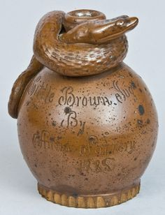 Little Brown Jug / By / Anna Pottery / 1885 Snake Jug