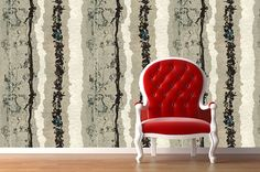 Removable Wallpaper- Latte Lines- Peel & Stick Self Adhesive Fabric Temporary Wallpaper-Repositionable-Reusable- FAST. EASY.