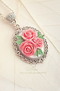 Roses in openwork frame 30x29 mm pendant by aarrre on Etsy, $30.00